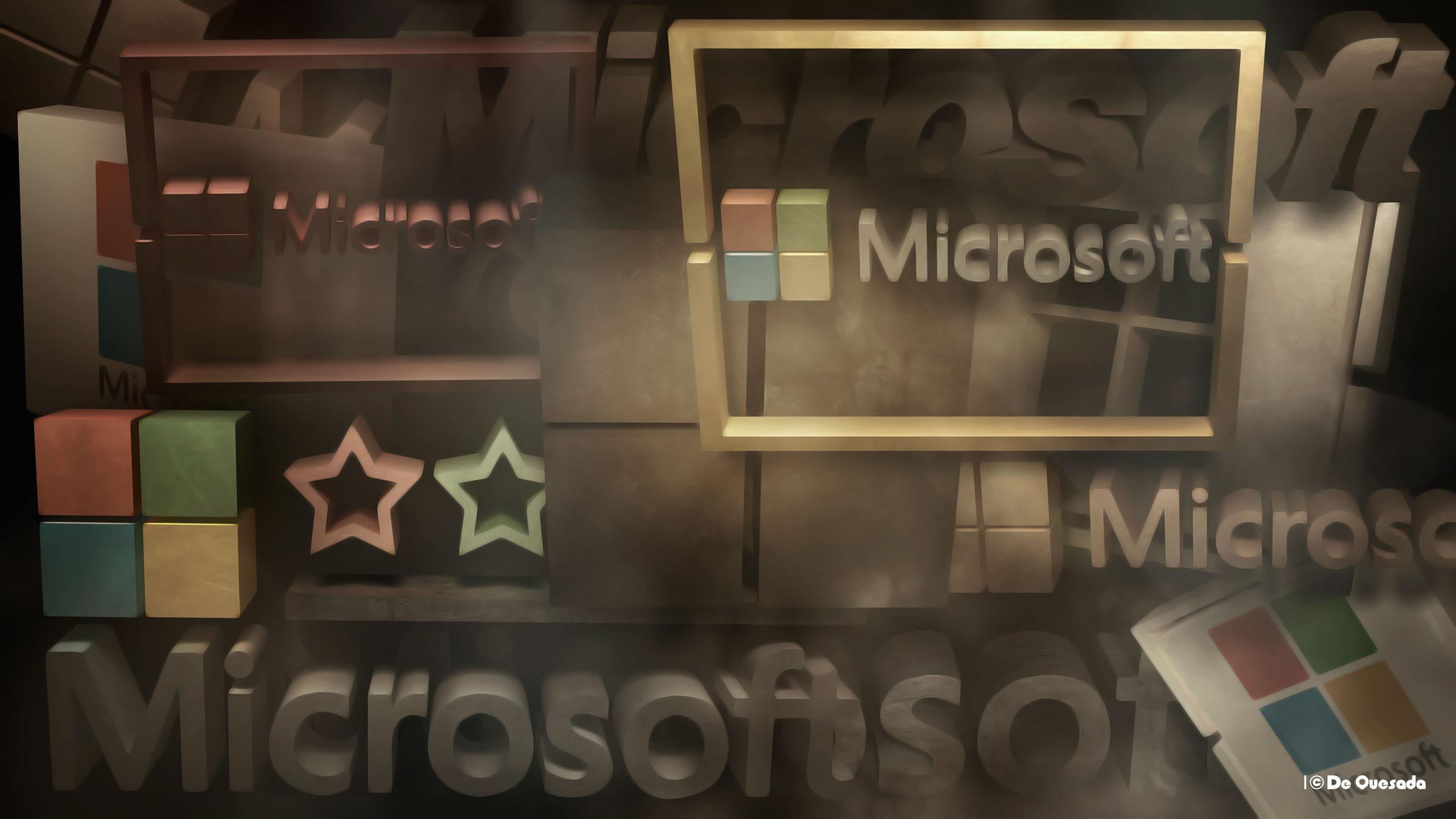 Microsoft 3d logotipo en colores