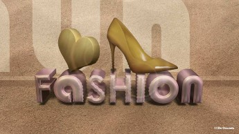 3d text pink text with yellow heart and stiletto shoe Japan