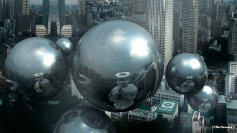 3d orbs hovering over the city with reflection of buddha Japan