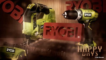 3d ryobi logo with green builder tools Japan