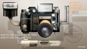 Modern slr camera graphic with a flash Japan