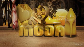 3d gallery yellow text with colourful scarfs, yellow shoe heart and orb