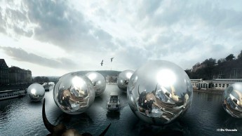 3d gallery orbs hovering over the river reflecting three agents and flying bird