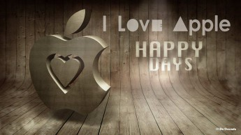Advertising gallery 3d apple logo with carved heart shape hovering over the wooden background