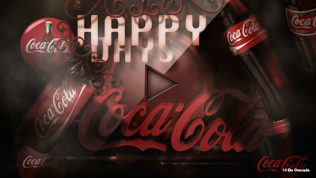 3d coca cola ad with cold bottles
