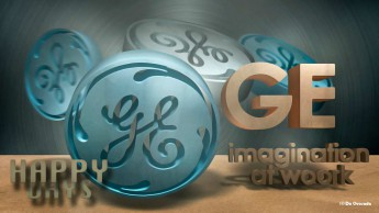 Advertising gallery 3d GE round light blue logo