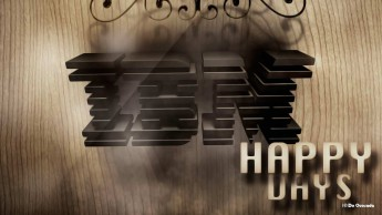 Advertising gallery 3d IBM logo on the wooden background and swirls