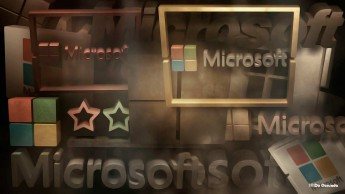 Advertising gallery 3d colourful microsoft logo