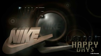 Advertising gallery 3d nike logo with dark silver glossy orb