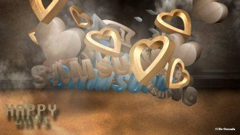 Advertising gallery 3d samsung logo with 3d shapes of flying hearts