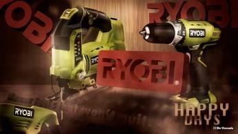 Advertising gallery 3d ryobi logo with green builder tools