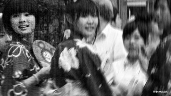 Art gallery group of smiling japanese women