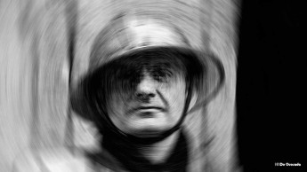 Art gallery man wearing an iron helmet