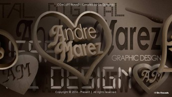 Branding gallery 3d brown text inside the heart shape