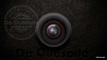 Graphic design gallery round camera lens on the black leather background