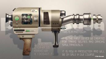 Graphic design gallery futuristic golden photogun graphic