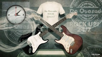 Illustration gallery two guitars with tshirt and clock