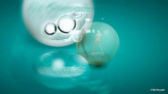 Illustration gallery woman standing inside a bubble