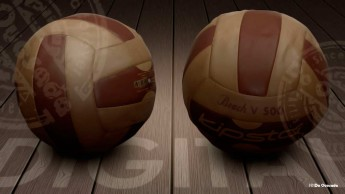 Illustration gallery two orange and red volleyball balls on the wooden floor