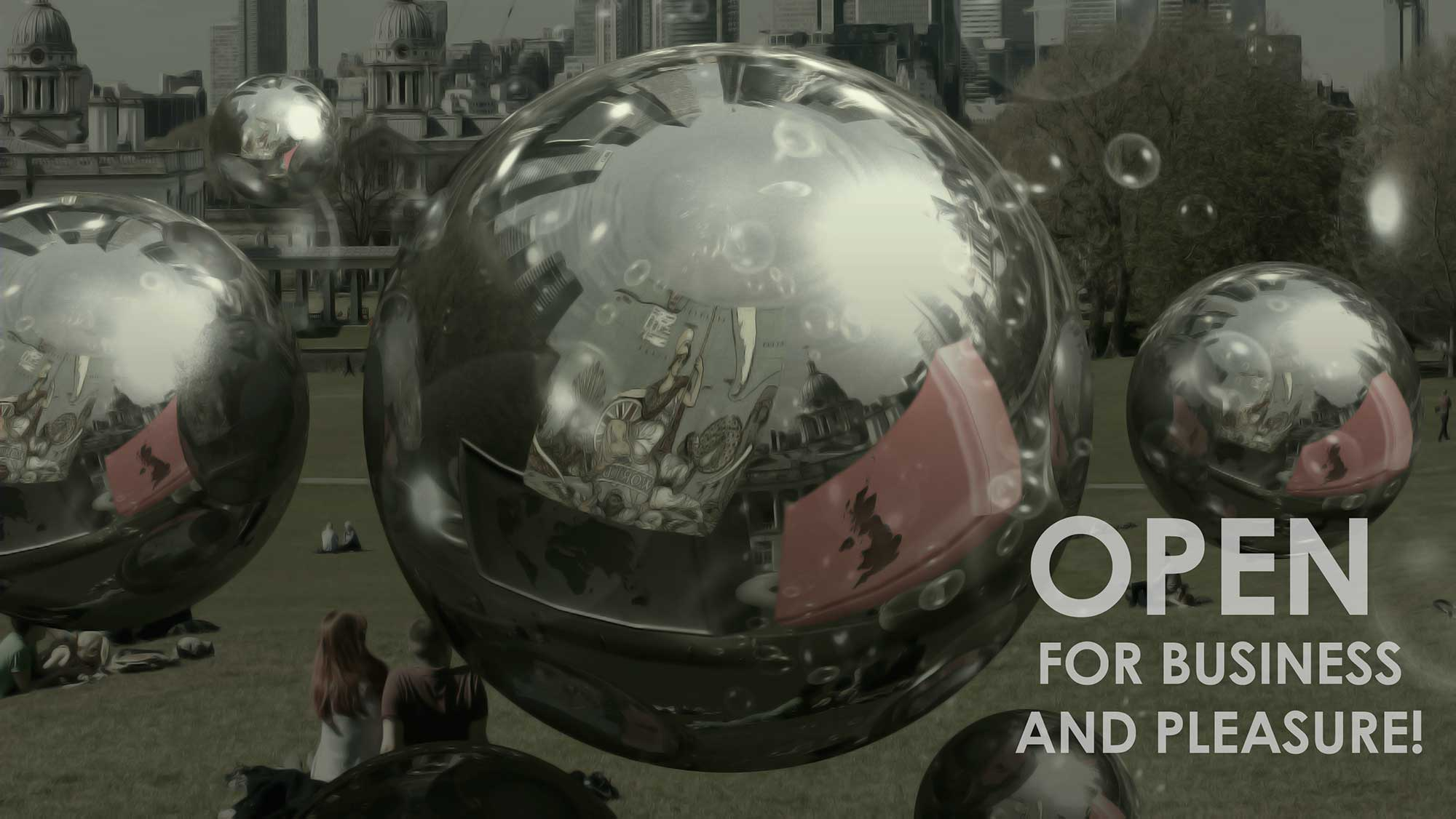 United Kingdom and world map floating inside of the chrome orbs