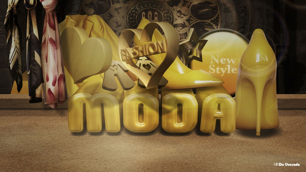 3d colourful yellow font with scarfs, yellow shoe heart and orb