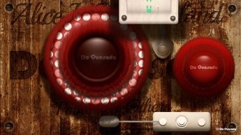 Graphic design gallery round red buttons on the rusty background